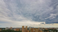 Clouds moving over over the residential complex. Time lapse. Stock Footage