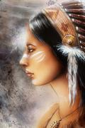 Airbrush painting of a young indian woman, profile portrait Stock Illustration