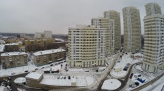 The area of the city with modern residential complex in the winter Stock Footage