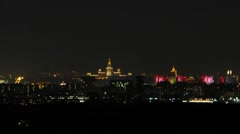 Fireworks over night city with the Moscow State University Stock Footage