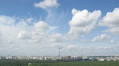 Clouds moving over over cityscape with Ostankino tower Stock Footage