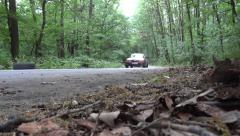 Red car that rushes through the green forest - stock footage