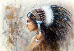Beautiful airbrush painting of a young indian woman wearing a big feather Stock Illustration