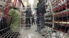 Getting around the trade hall, the view from the shopping cart Stock Footage