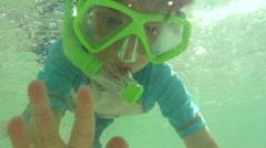 Little Boy Snorkeling In Ocean Arkistovideo