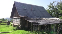 Old abandoned wooden hut 42 Stock Footage