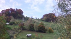 Landscape with mowed farmyards and clusters of green bushes - stock footage