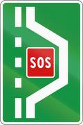 Slovenian road sign - Emergency breakdown bay - stock illustration