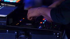 DJ mixing music on a mixer at a private party 260 Stock Footage