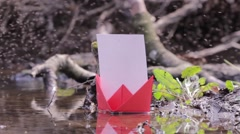 Red paper boat failed to among thousands of flies flying erratically 86 Stock Footage