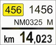 Slovenian road sign - Road distance marker - stock illustration