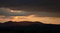 Sunset 60.  Orange sunset over high hills Stock Footage