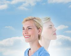 Stock Photo of Composite image of woman meditating