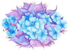 Blue and Purple Watercolor Floral Vignette - stock illustration
