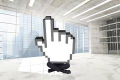 Composite image of cursor with legs - stock illustration