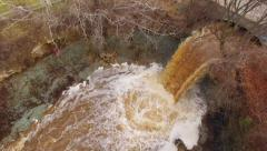 Wequiock Falls near, Green Bay Wisconsin, Aerial View, Raging Waters Stock Footage
