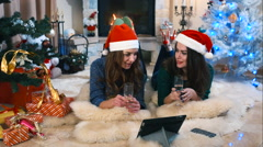 Winter holidays greetings through video chat Stock Footage