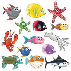 Family of funny fish. - stock illustration