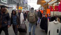 Multicultural market in Amsterdam - stock footage