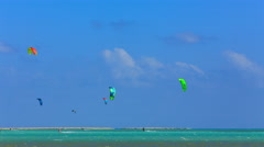 Time lapse kite surfing in the Kite Village near Hamata Marina at the Red Sea Stock Footage