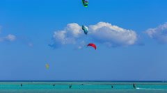Time lapse People engaged in kite surfing near Hamata Marina at the Red - stock footage
