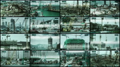CCTV split screen construction sites security, timelapse. Stock Footage