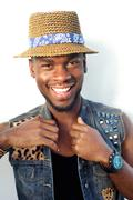 Stock Photo of Happy african american male fashion model with hat