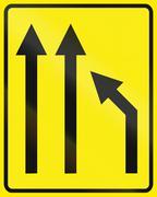 Slovenian road sign - Traffic lane management - stock illustration