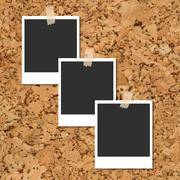 Vector cork board with photo cards fixed by an adhesive tape Stock Illustration