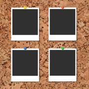 Stock Illustration of Vector cork board with photo cards and color pin