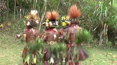 Papuan men dance in Papua New Guinea Stock Footage