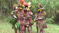 Group of men before traditional ritual in Papua New Guinea Stock Footage