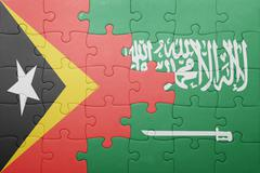 Puzzle with the national flag of saudi arabia and east timor Stock Photos