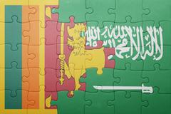 Puzzle with the national flag of saudi arabia and sri lanka Stock Photos