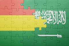 Puzzle with the national flag of saudi arabia and bolivia Stock Photos