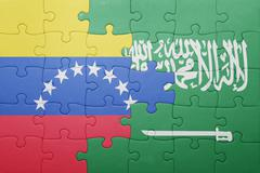 Puzzle with the national flag of saudi arabia and venezuela Stock Photos