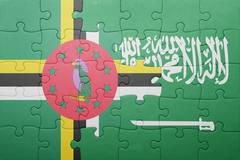 Puzzle with the national flag of saudi arabia and dominica Stock Photos