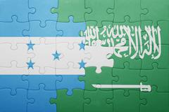 Puzzle with the national flag of saudi arabia and honduras Stock Photos