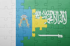 Puzzle with the national flag of saudi arabia and canary islands Stock Photos