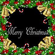 Holly Christmas frame Stock Illustration