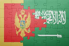 Puzzle with the national flag of saudi arabia and montenegro Stock Photos