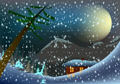 Winter scenery - stock illustration
