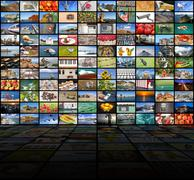 Big video wall of the TV screen Stock Photos
