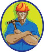 Construction Worker Foreman Arms Crossed WPA Stock Illustration