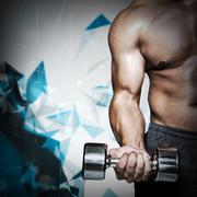 Composite image of mid section of a bodybuilder with dumbbell - stock photo