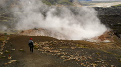 Geothermal area in Landmannalaugar, Iceland Stock Footage