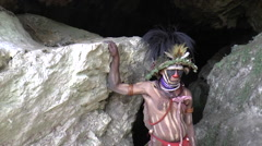 Papuan man in native costume in Papua New Guinea Stock Footage