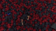 Stock Video Footage of 4k aerial bmx foam pit ride exiting
