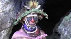 Papuan man with face paint in Papua New Guinea - stock footage