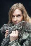 Fashion woman in fur coat, lady portrait Kuvituskuvat